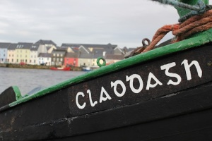 "Closeup of a ""Galway Hooker,"" a sail boat unique to Ireland."